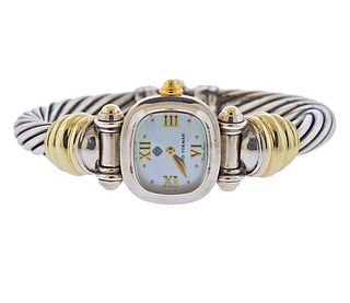 David Yurman 14k Gold Silver MOP Cable Bracelet Watch