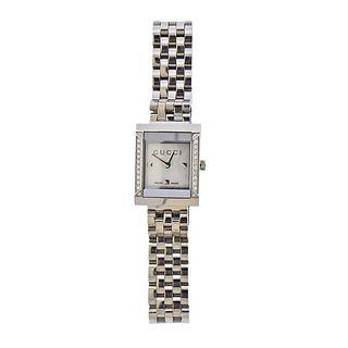 Gucci G Frame MOP Diamond Steel Lady's Watch YA128405