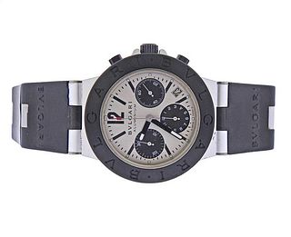 Bvlgari Bulgari Diagona Aluminum Rubber Chronograph Watch AC38TA