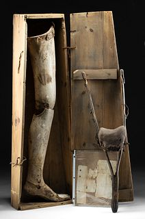 1860s American Civil War Wood Prosthetic Legs + Box