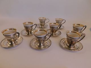 8 STERLING & LENOX DEMITASSE CUPS