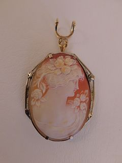LARGE SHELL CAMEO WITH GOLD FRAME