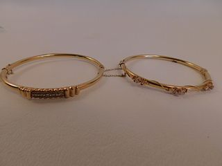 2 GOLD & DIAMOND BRACELETS