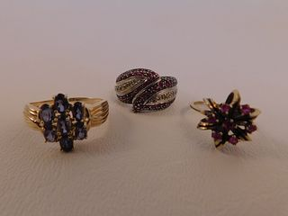 3 GOLD GEMSTONE RINGS