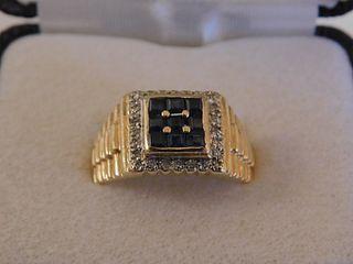 MENS GOLD, DIAMOND & SAPPHIRE RING