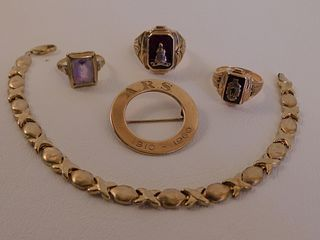 5 PIECES GOLD JEWELRY