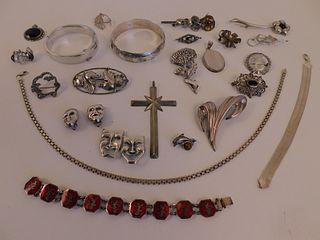ASSORTED LOT SILVER JEWELRY