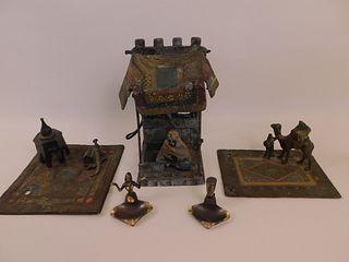4 OLD ARABIC METAL ITEMS & LAMP