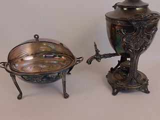 ANTIQUE ENGLISH KETTLE & BREAKFAST WARMER