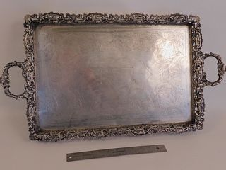 ANTIQUE 800 SILVER TRAY WITH ANIMALS 112 OZT