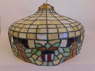 LEADED GLASS LIBERTY BELL SHADE