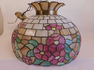 LEADED GLASS CROWN HANGING LAMP
