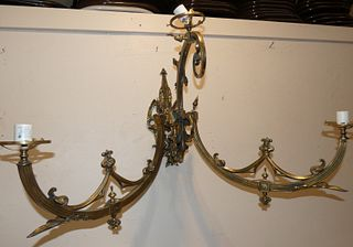 PAIR HUGE ANTIQUE BRASS SCONCES