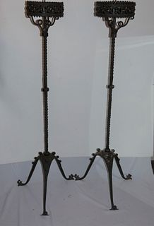 PAIR A&C IRON FLOOR CANDLESTICKS