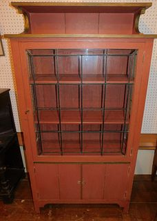 ARTS & CRAFTS LEADED GLASS CABINET