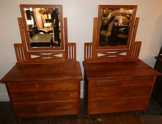 PAIR ARTS & CRAFTS OAK CHESTS & MIRRORS