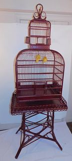 WICKER BIRD CAGE ON STAND