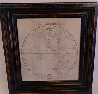 ANTIQUE HAND DRAWN W. HEMISPHERE MAP