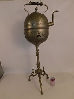 ANTIQUE ARABIC TEA KETTLE ON STAND
