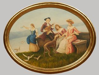 """Chinese School, """"A Day at the Beach,"""" 20th/21st c., oval oil on panel, presented in a wide stepped gilt frame, H.- 22 3/8 in., W.- 43 in."""