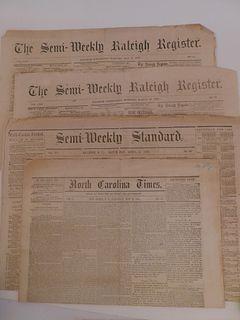 4 CIVIL WAR CONFEDERATE NEWSPAPERS