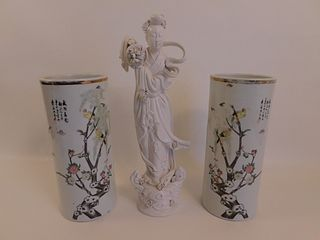 PAIR CHINESE VASES & FIGURE