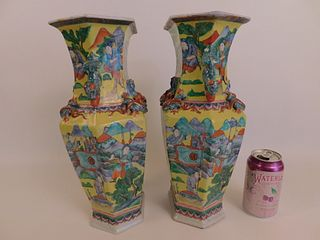 PAIR CHINESE VASES WITH WARRIORS