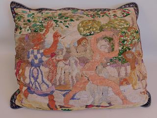 OLD CHENILLE PICTORIAL PILLOW