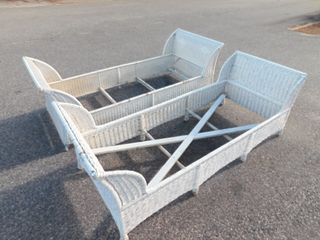 PAIR WICKER DAY BEDS