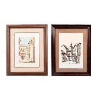 MARTÍN HIDALGO Lote de 2 obras pictóricas. Paisajes arquitectónicos Firmados y fechados '76 y '80 Gouache y acuarela Enmarcados