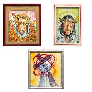RAMÓN VALDIOSERA  Lote de 3 obras pictóricas Enmarcadas Consta de: a) Divino rostro Firmadas y fechada '87 al frente. Otros.