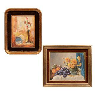 Lote de 2 obras pictóricas. Enmarcadas Consta de: a) M. CORRAL Y LÍBANO Sin título Firmado y fechado '71 al frente Otro.