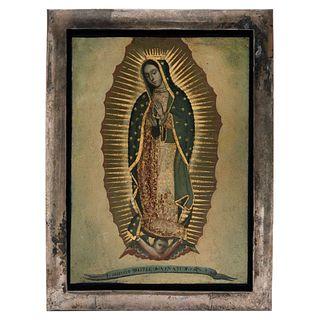 VIRGEN DE GUADALUPE MÉXICO, SIGLO XX  Óleo sobre lámina de cobre 35 x 25 cm