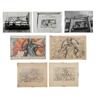 """FRANCISCO MORA Lote de 7 obras. Sin enmarcar Consta de: """"Libertad de prensa"""", 1953 Boceto para fresco sobre cemento y 3 fotografías."""