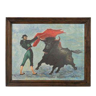 A. LLORENS Escena taurina Firmado al frente Óleo sobre tela Enmarcado 42 x 52 cm