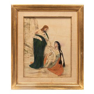 ANÓNIMO Escena de Jesús sanador Bordado en tela Enmarcado 67 x 57 cm