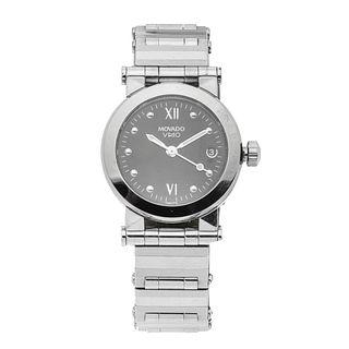 Reloj Movado modelo Vizio. Movimiento cuarzo. Caja circular en acero de 24 mm. Carátula color negro con índices de puntos. P...