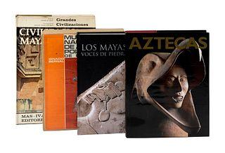 LOTE DE LIBROS SOBRE CIVILIZACIONES ANTIGUAS Y ANTROPOLOGÍA. a) Los Mayas. Voces de Piedra. b) Museo Nacional de Antropología. Pzs: 4.
