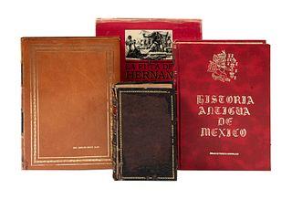LOTE DE LIBROS SOBRE HISTORIA DE MÉXICO. a) La Ruta de Hernán Cortés. b) Historia Antigua de México. Piezas: 4.