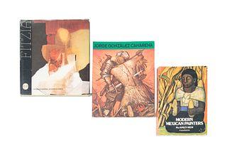 Lote libros de Arte Moderno Mexicano. a) Modern Mexican Painters. b)  Jorge González Camarena.  Piezas: 3.