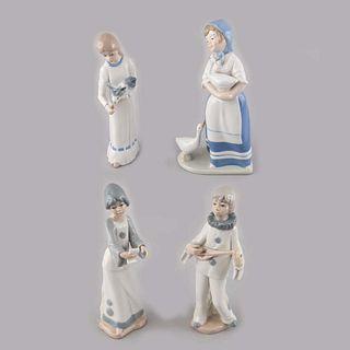 Lote de 4 figuras decorativas. España y México. Siglo XX. Elaboradas en porcelana Casades y de Cuernavaca. Acabado brillante.