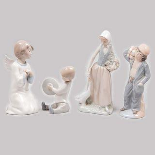 Lote de 4 figuras decorativas. España y México. Siglo XX. Elaborado en porcelana NAO, tipo Lladró y Dalia. Acabado brillante.