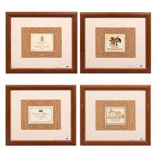 Lote de 4 etiquetas de vino. Enmarcadas Consta de: Grand Vin de Chateau Latour (1925), Chateau Haut Brion, Chateau d'Yquem, otro.