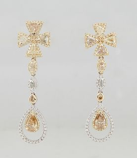 Pair of 14K White and Yellow Gold Pendant Earrings, the cruciform yellow diamond mounted stud to yellow marquise diamond mounted shaped links, suspend