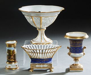 Group of Four French Old Paris Porcelain Pieces, 19th and 20th c., consisting of a gilt decorated compote bearing a label for Edward Honore; a polychr