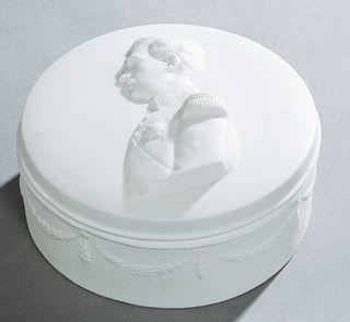 Circular Parian Covered Dresser Box, late 19th c., the lid with a relief bust of Napoleon, the sides with relief garlands and flowers, H.- 3 3/4 in.,