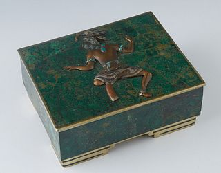 Mexican Malachite Copper and Silverplated Rosewood Lined Dresser Box, mid 20th c., by Castillo, Taxco, the top with a turquoise mounted relief copper
