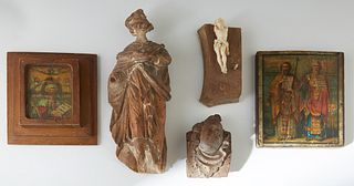 Group of Five Religious Items, 19th/20th c., consisting of a carved wood Santo; a print of an icon laid to panel; a carved wooden bust; a gilt on pape