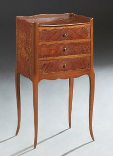 French Louis XV Style Marquetry Inlaid Rosewood and Mahogany Nightstand, early 20th c., the 3/4 galleried top over a bank of three drawers, on tapered
