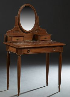 French Art Nouveau Carved Walnut Marble Top Dressing Table, c. 1900, with an oval beveled swivel mirror flanked by floral carving and small drawers, o
